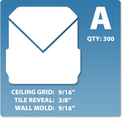 (A) Box 1 x 300 pcs | Grid: 9/16 | Reveal: 3/8 | Wall Mold: 9/16