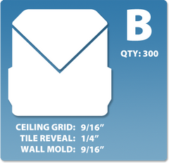 (B) Box 1 x 300 pcs | Grid: 9/16 | Reveal: 1/4 | Wall Mold: 9/16