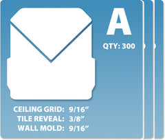 (A) Case 12 x 300 pcs | Grid: 9/16 | Reveal: 3/8 | Wall Mold: 9/16