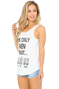 THE ONLY MEN I TRUST... JACK JIN  JOSE PRINTED TANK TOP, COUNTRY GIRL TOP/COUNTRY MUSIC WOMEN'S FASHION