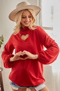 BLACK OR RED SEXY  VALENTINES HEART CUT OUT MOCK NECK TOP