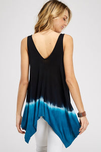 V-neck line Asymmetrical tie dye Ombre Tunic tank top with Shark bite hem