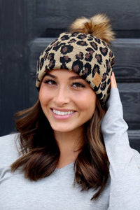 Fleece lined Beanie Tuque hat with pom Cheetah Leopard Print