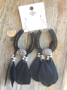"Horseshoe western fashion earrings Wood Feather Earrings Approx: 5.5""L Casting hook Lead & nickle compliant"
