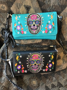 Western Sugar Skull Trifold Clutch Cross body Wallet-Turquoise , black and purple