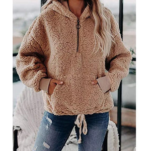 Fashion Women Casual Solid Velvet Long Sleeve Hooded Zipper Pocket Sweatshirt