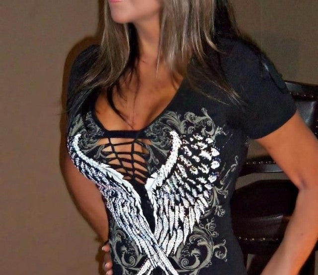 Ladies Wing short sleeve top gorgeous graphic print embellished in rhinestones