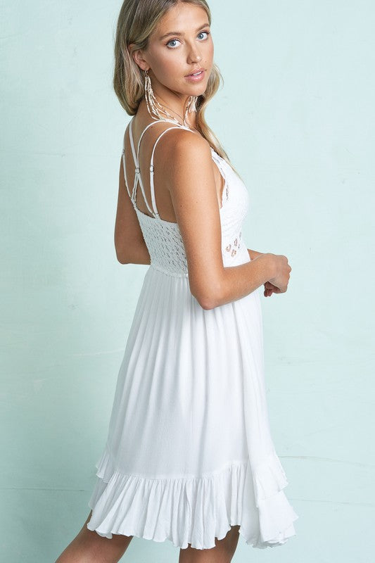 Dress crochet lace trim slip dress Pre orders Now
