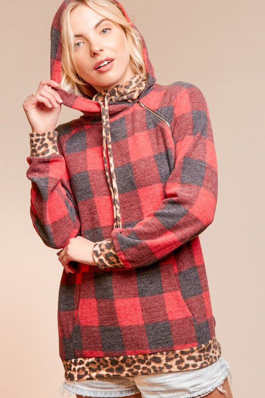 PLAID CHECKER AND LEOPARD RAGLAN ZIPPER HOODIE