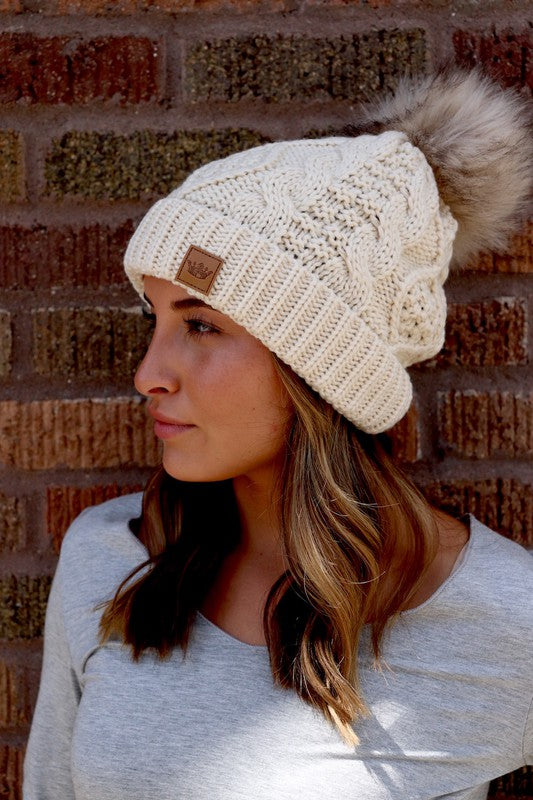 Fleece lined Beanie Tuque hat with pom
