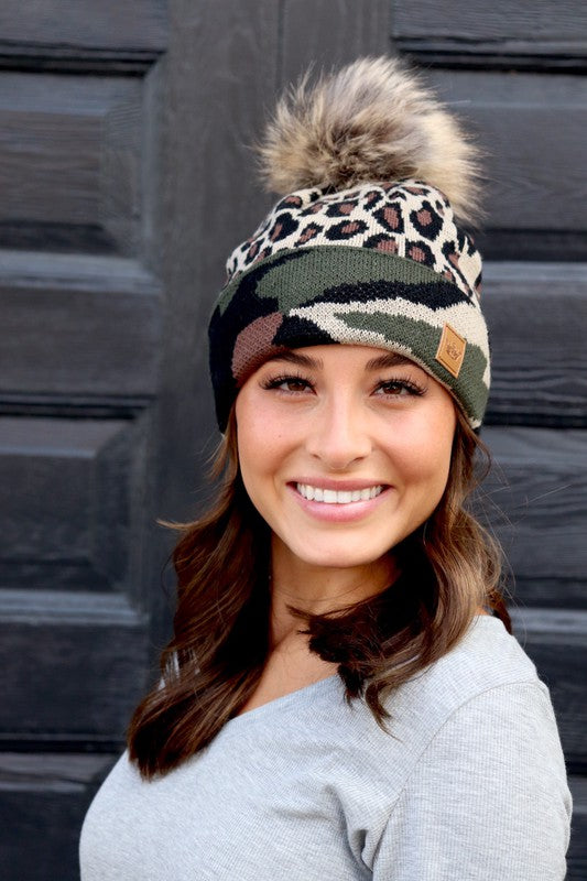 Camo Cheetah Print  Fleece lined Beanie Tuque hat with pom