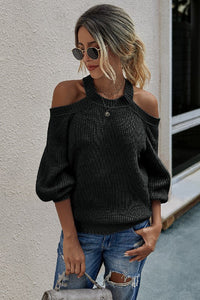 Grey Solid Long Sleeve Loose Knit Sweater