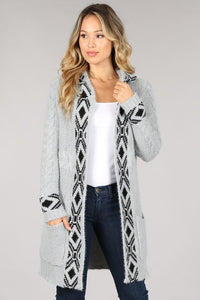 Women's Cable Embellished Open Front Cardigan Sweater with Hood