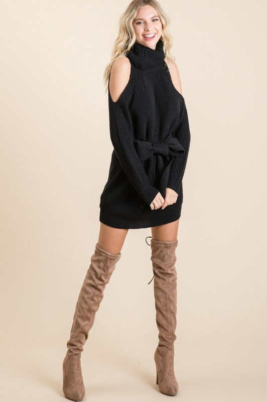 SEXY COLD SHOULDER COWL NECK BELTED KNIT SWEATER DRESS