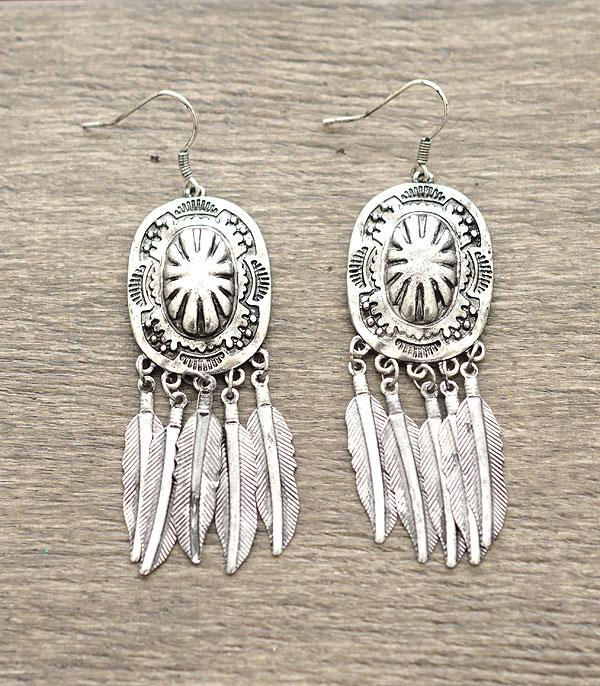 WesternConcho w/Feather Charms Earrings