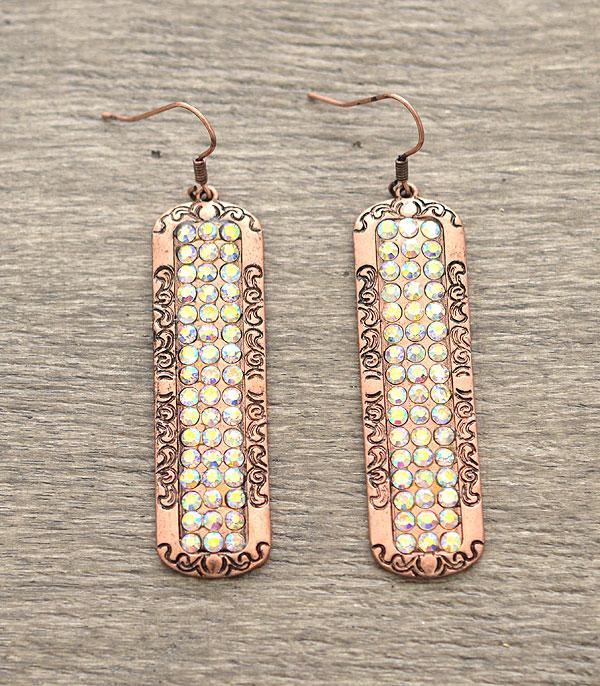 Gorgeous BoHo chic rustic rhinestone bronze color FISH HOOK Earrings Bling Stone Drop Earrings
