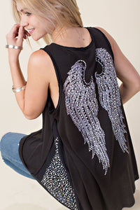 PEARL CRYSTAL BLACK ANGEL WINGS TUNIC TANK TOP SHIRT S M L XL USA