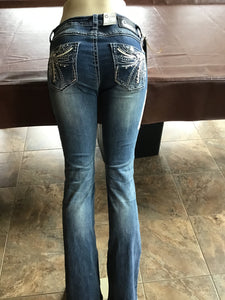 GRACE IN LA JUNIOR FIT WESTERN EMBROIDERED POCKET BOOT CUT JEANS