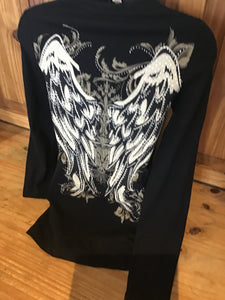 Women's rhinestone wing lace up sleeve tie up sleeve top  Rebel rock bikers prints Skull and wings with stones details Hooded with pockets tattoo graphic print rhinestone PUNK BIKER TOP