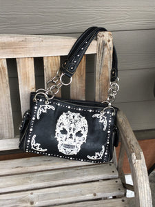 Embroidered Sugar Skull on the front shoulder bag purse handbag Concealed Carry Shoulder Bag