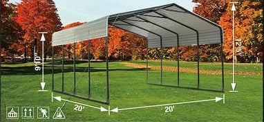 20' x 20' All-Steel Carport with Galvanized Roof Free Delivery To Your Door
