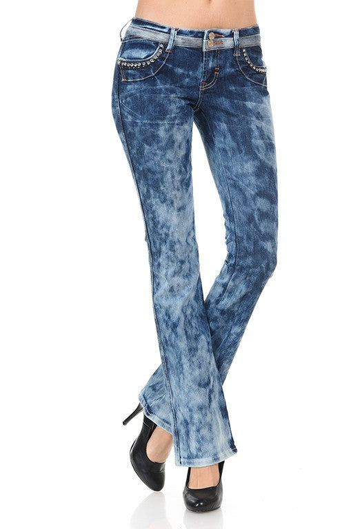 Sale stonewash boot cut rhinestone double button low rise jeans last pair Women'd  Dark Blue Denim Waist