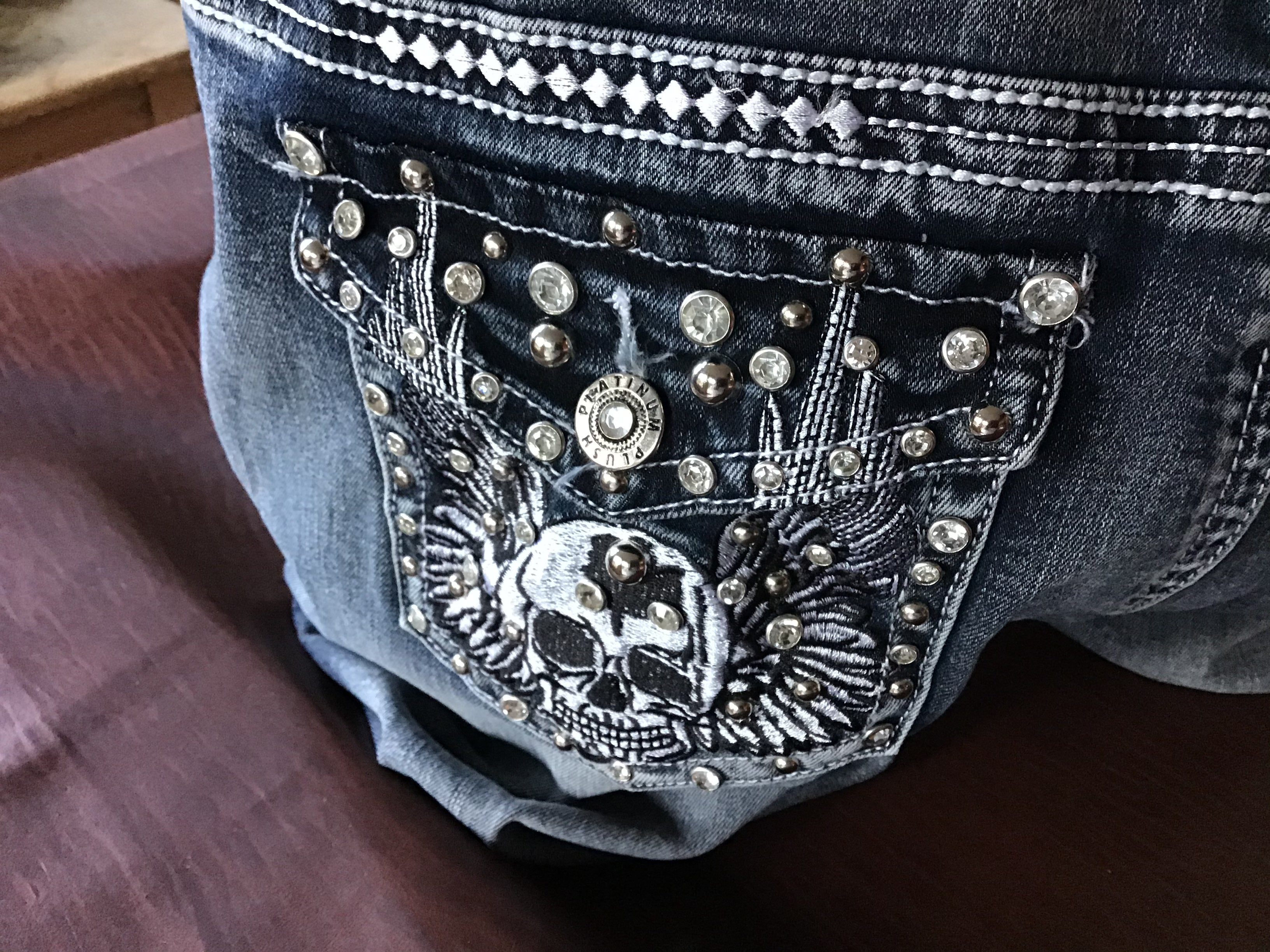 Boot cut denim Womens biker jeans Skull with angel wing on back