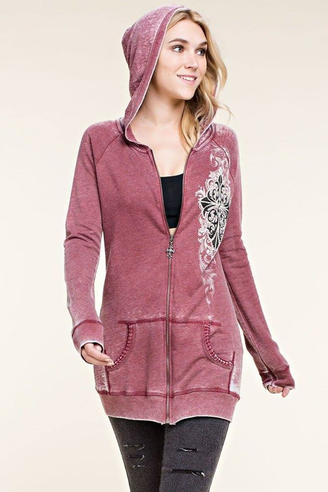 Gorgeous cross wings hoodie Crystals all over on front & BACK