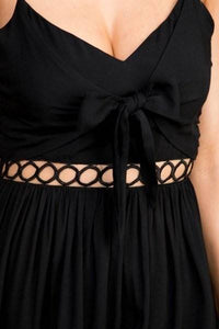 Black Front Tie Solid Round Lace Detail Cami Hi Low Dress