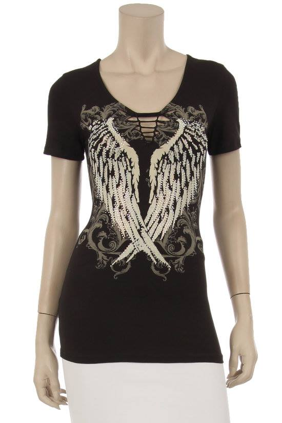 SEXY BLACK SLASH CLEAVAGE ANGEL WINGS RHINESTONE BIKER RIDER TEE KNIT TOP LARGE