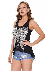 Sexy Tank Top Shredded Feather wing cross vintage tattoo graphic print rhinestone stud
