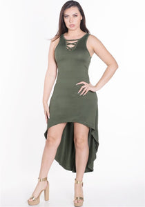 Green Dress women's strap dress, with soft material, racer back, flowy high-low hem