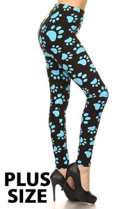 Paw Print Plus Size leggings super Soft Puppy Paws