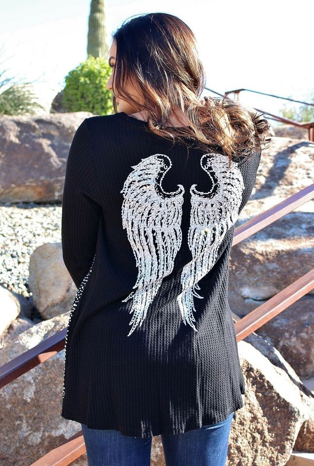 Plus Long sleeve VOCAL TOP PEARL CRYSTAL BLACK ANGEL WINGS l/s TOP SHIRT USA