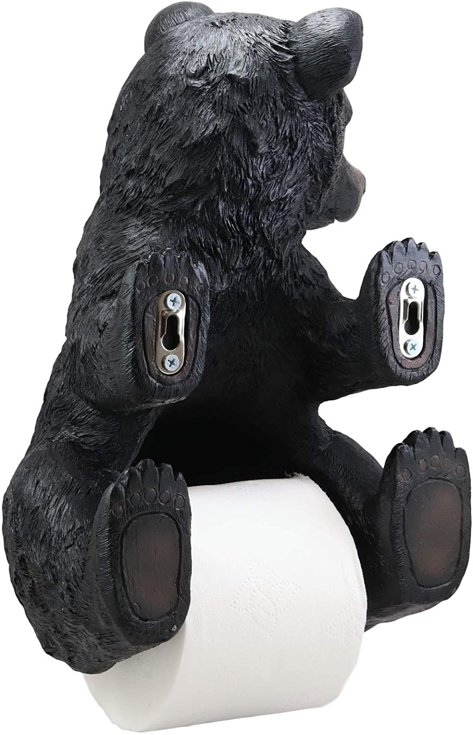 BEAR TP HOLDER Pooping Black Bear Toilet Paper Holder Large 13.5 Inch Bath Room Wall Decor