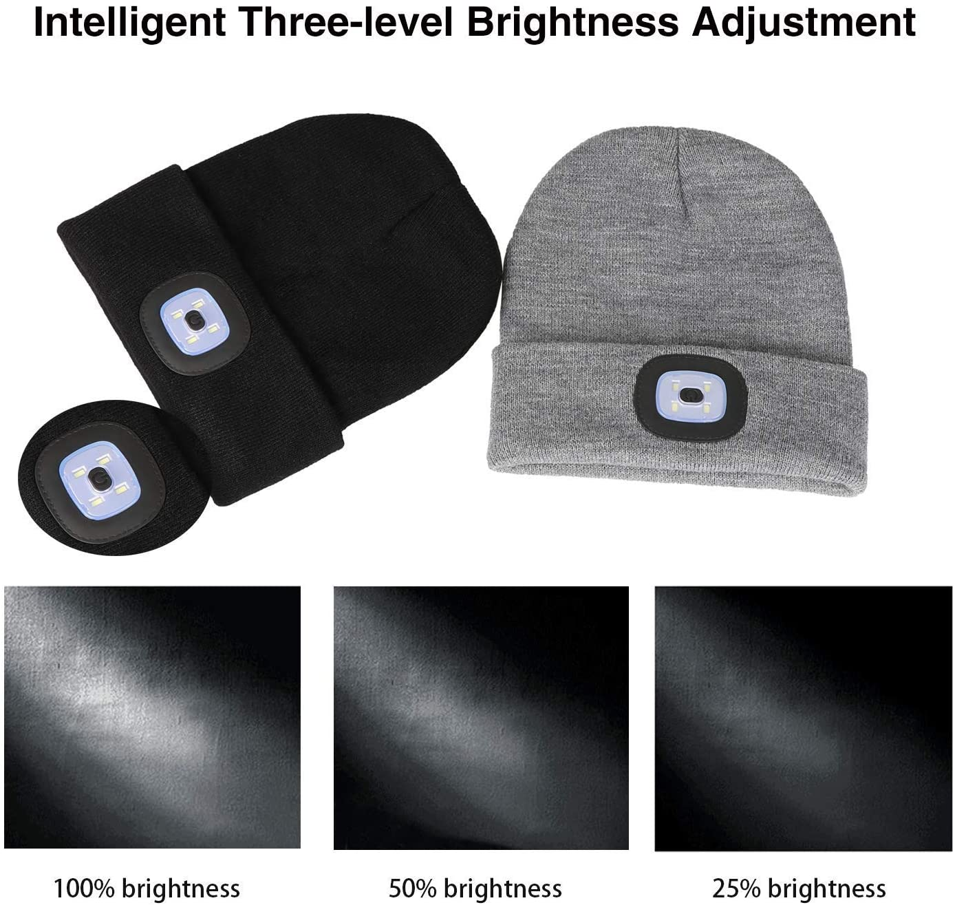 Beanie hat with light NICE WINTER GIFT