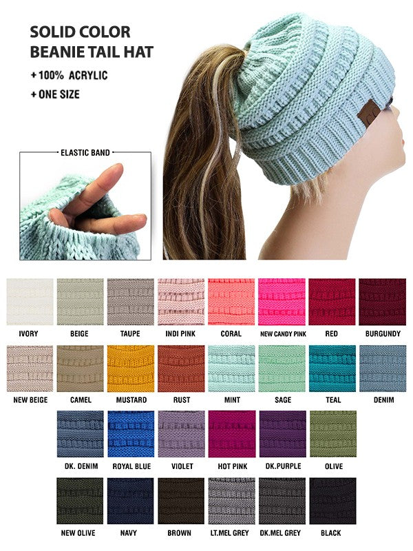 Messy Bun Beanie Hat Toque Navy Blue /Mauve/Olive Green /Teal/Burgundy/Brown/Beige Messy Bun Hat Beanie