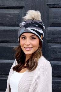 Grey Camo Fleece lined Beanie Tuque hat with pom