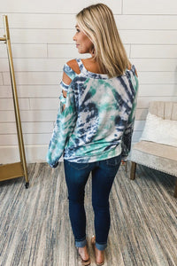 Blue Cut Out To Shoulder Tie-dye Long Sleeve Top