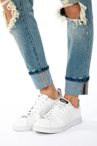 Kan Can High Rise Knee Ripped Boyfriend Jeans