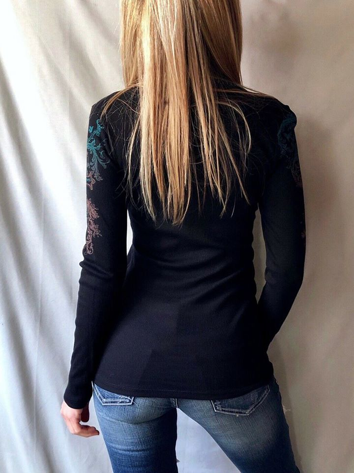 Cross Wing print with crystal rhinestones and stud accents Vocal fashion/Apparel