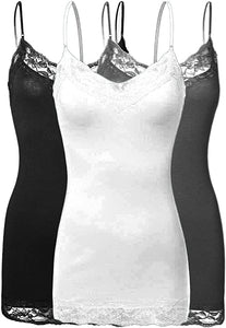 Fitted spaghetti strap top with lace detail. Junior Size. Black and white in color