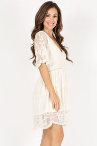 Dress Lace, embroidered, short baby doll dress in a relaxed fit