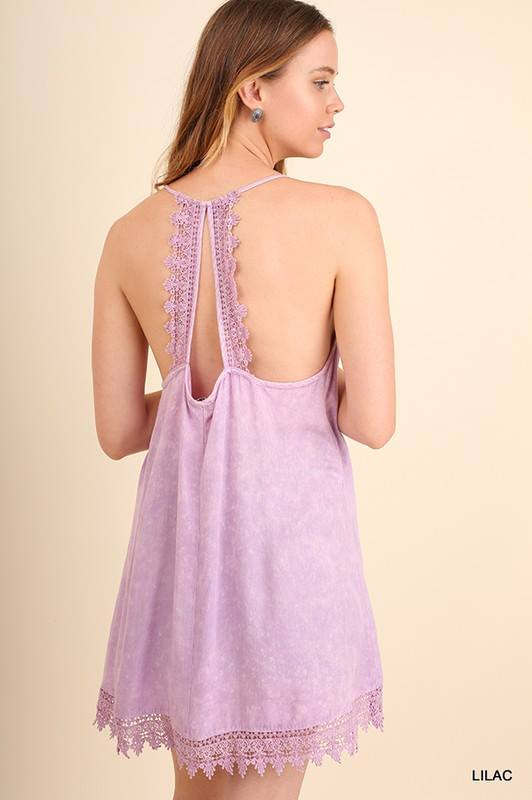Hi low crochet top/dress Purple mauve minimal wash love the sexy back