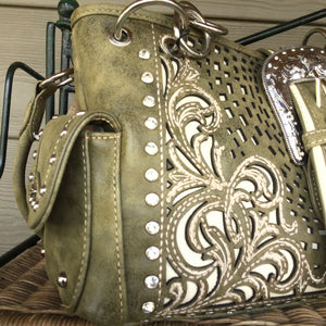 Western Handbag Buckle Collection Concealed Carry Shoulder/Crossbody Tan or Sage green in stock
