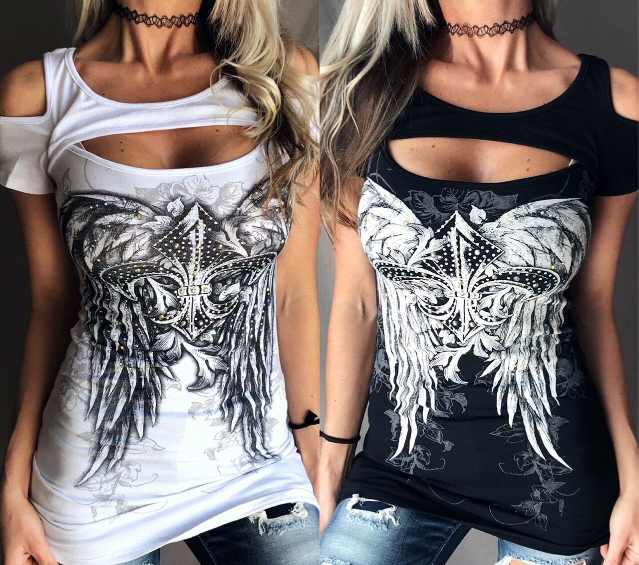 Bling Rhinestone Cross Fleur De Lis Wings Peekaboo Open Cold Shoulder New Top Gorgeous Wing  bling Sexy Biker short sleeve shirt comes in other colours Shredded sleeves