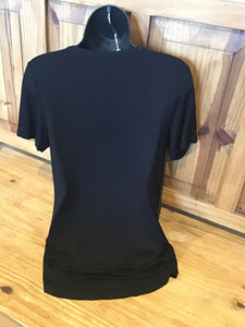 Woman's wing short sleeve top ,sexy ladder cutout with a plunging neckline.
