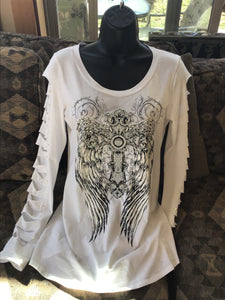 PLUS WOMEN BIKER TOP CROSS WING FEATHER FLORAL TATTOO GRAPHIC