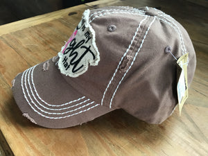 This is my fight hat Chocolate brown in colour with the bright pink cancer ribbon