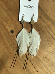 Bezel Stone Feather Drop Earrings
